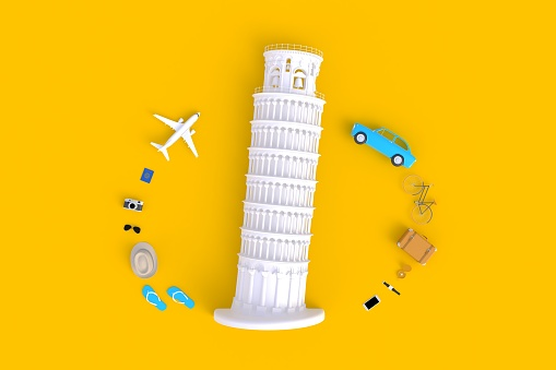 Leaning Tower of Pisa, Italy, Europe, Italian Architecture, Top view of Traveler's accessories abstract minimal yellow background, Essential vacation items, Travel concept, 3d rendering