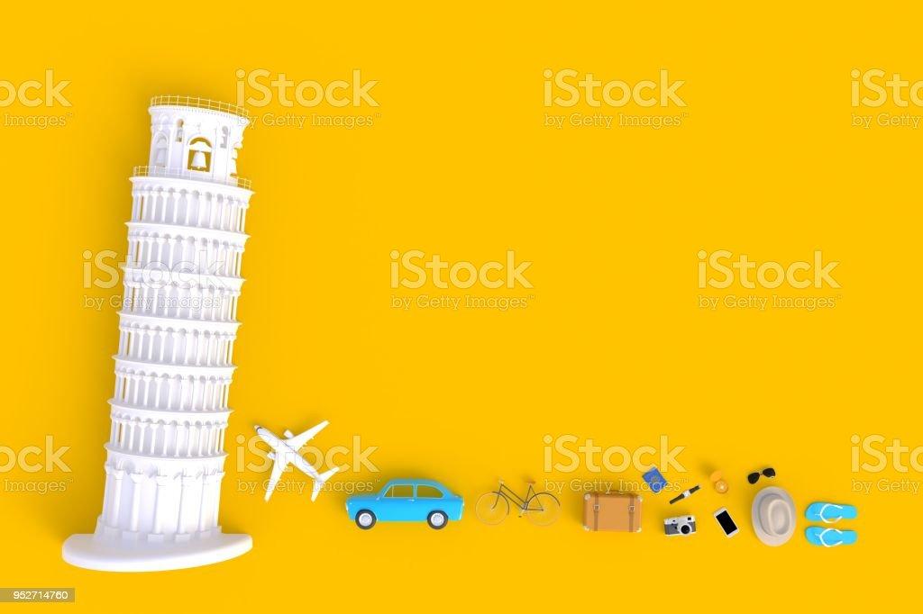 Torre inclinada de Pisa, Italia, Europa, arquitectura italiana, vista superior de accesorios mínimo amarillo antecedentes viajero, elementos esenciales de vacaciones, concepto de viaje, render 3d - foto de stock