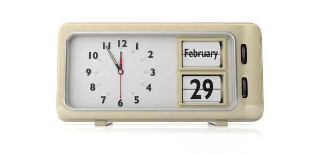 bond jour 29 février sur fond de réveil rétro, blanc ancien, isolé, illustration 3d. - calendrier digital journée photos et images de collection