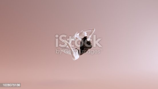 istock Leaping Falling Floating Sexy White Abstract Woman in Black Shorts and Sleeveless Top 1028075136