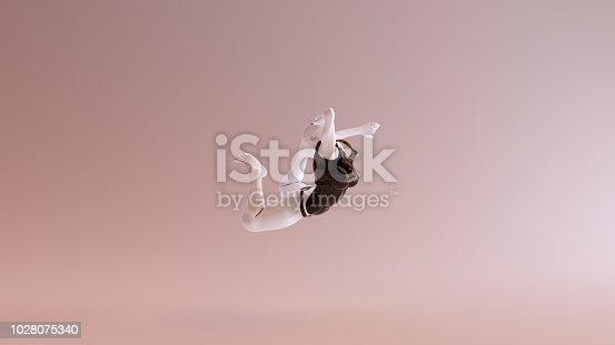 istock Leaping Falling Floating Sexy White Abstract Woman in Black Shorts and Sleeveless Top 1028075340