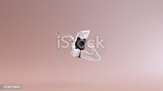 istock Leaping Falling Floating Sexy White Abstract Woman in Black Shorts and Sleeveless Top 1028075642