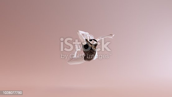 istock Leaping Falling Floating Sexy White Abstract Woman in Black Shorts and Sleeveless Top 1028077750