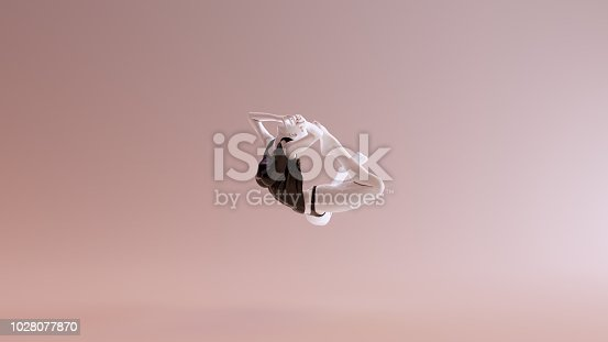 istock Leaping Falling Floating Sexy White Abstract Woman in Black Shorts and Sleeveless Top 1028077870