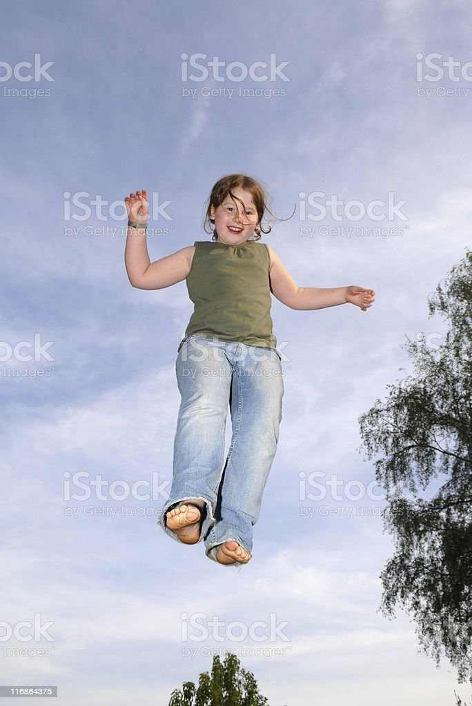 Leaping for joy stock photo