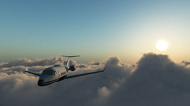 Learjet 60 Above The Clouds stock photo