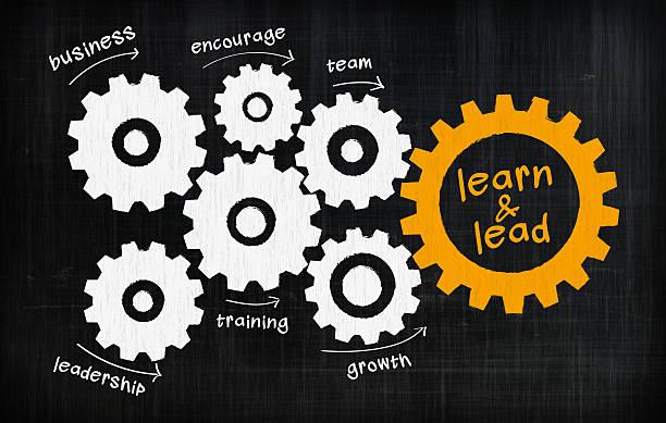 lernen und führen getriebe - lernfortschrittskontrolle stock-fotos und bilder
