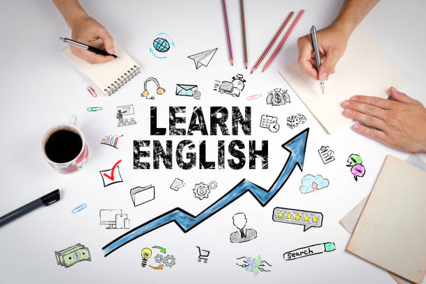 learn english concept. education and career opportunities - inghilterra foto e immagini stock
