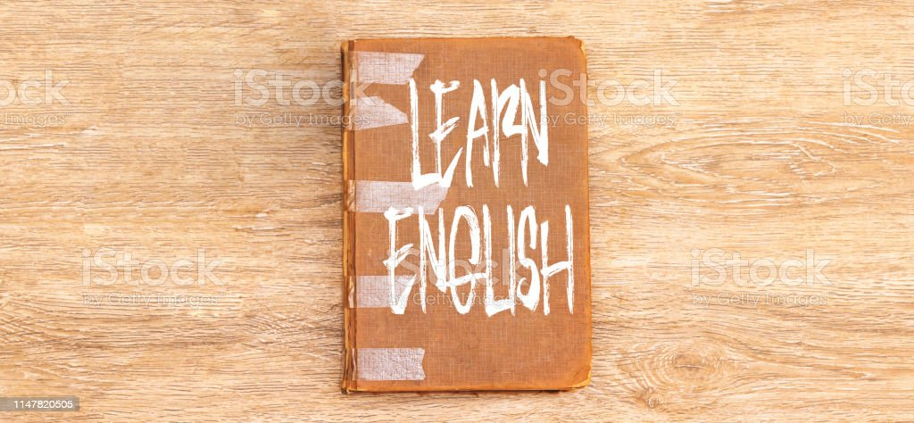 learn english on notebook, learn language concept