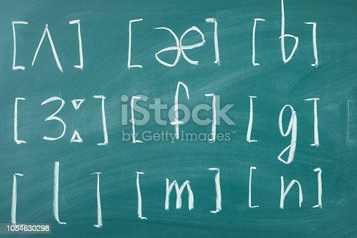 istock Learn english School lesson class chalkboard International phonetic alphabet. 1054630298