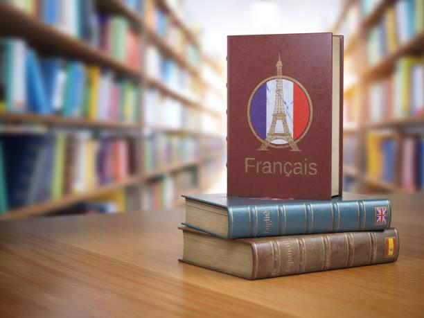 aprender el concepto francés. libro diccionario francés o textbok con la bandera de francia y eiffel torre en la portada de la biblioteca. - cultura francesa fotografías e imágenes de stock
