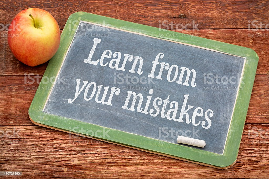 Learn from your mistakes stock photo