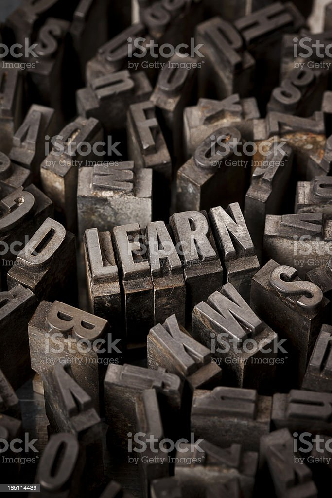 Learn In Letterpress Type royalty-free stock photo