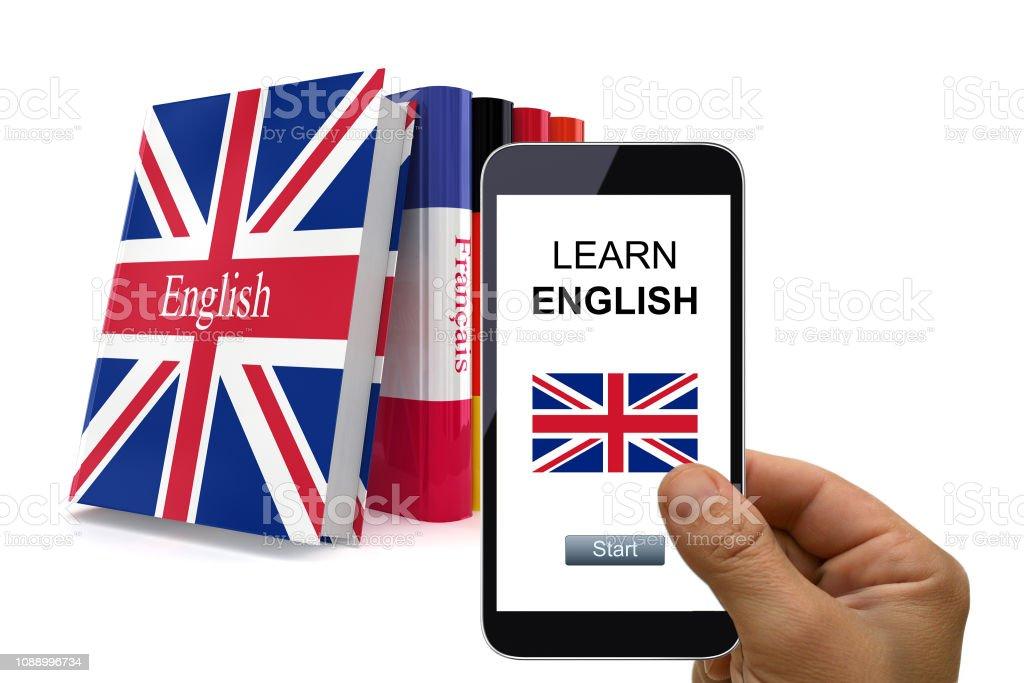 Learn Language Mobile Phone Book Translate Stock Photo