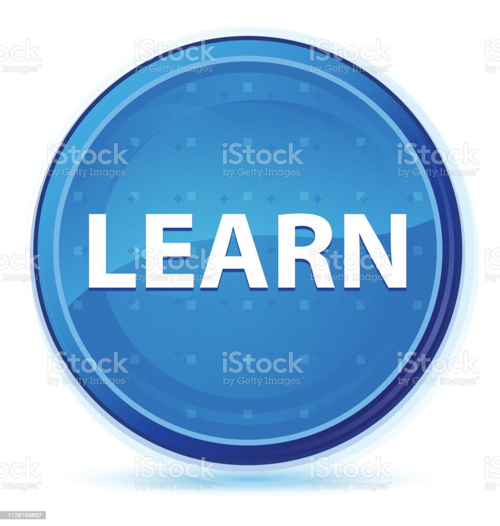 Learn midnight blue prime round button stock photo