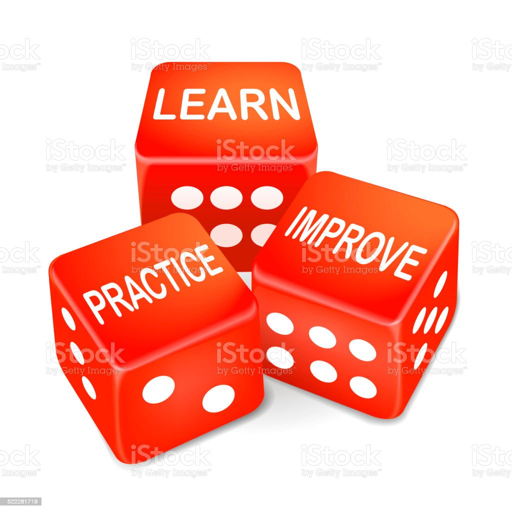 learn, practice and improve words on three red dice stock photo