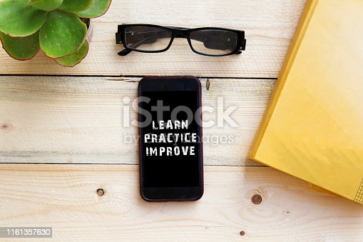Learn Practice Improve Concept on smart phone
