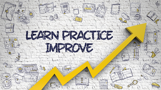 Learn Practice Improve Drawn on White Wall. Illustration with Doodle Icons. Learn Practice Improve Inscription on Modern Illustation. with Orange Arrow and Doodle Design Icons Around.