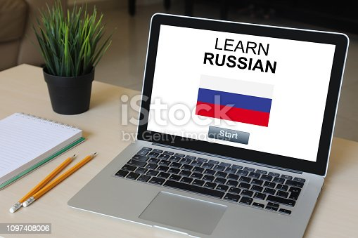 Learn Russian language online e-learning computer software laptop desk