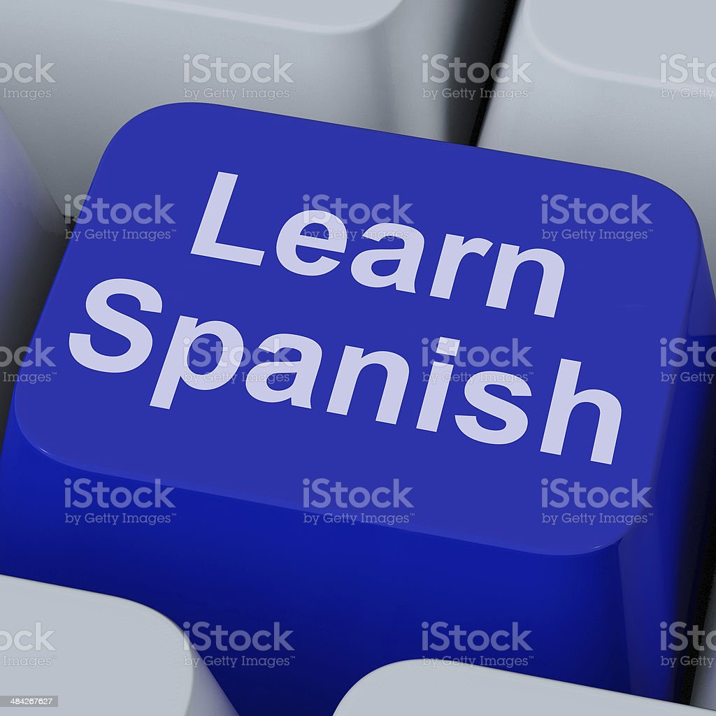 Learn Spanish Key Shows Studying Language Online stock photo