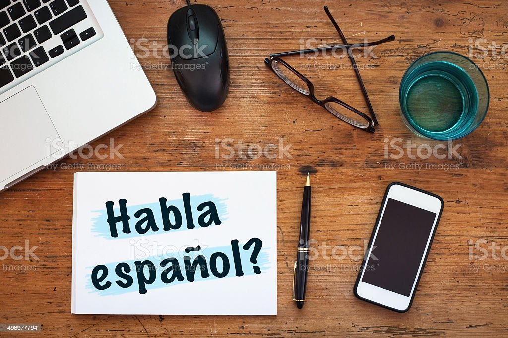 learn spanish language concept stock photo