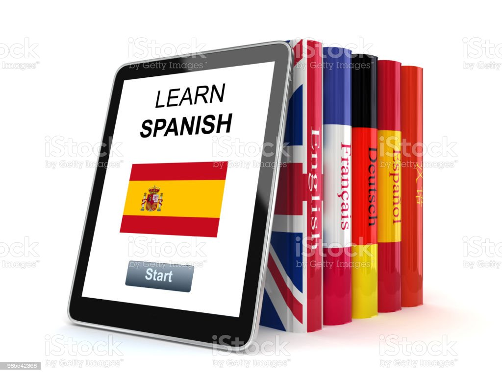 learn-spanish-language-tablet-application-online-elearning-picture-id985542368