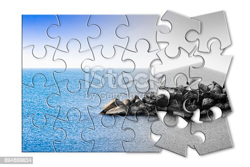 1091817198 istock photo Learn to manage anxiety and stress to rebuild the inner serenity - concept image in jigsaw puzzle shape 694869634