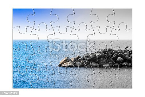 1091817198 istock photo Learn to manage anxiety and stress to rebuild the inner serenity - concept image in jigsaw puzzle shape 694872086