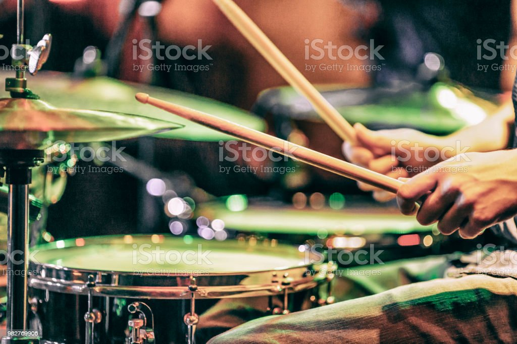 Learn to play the drums stock photo