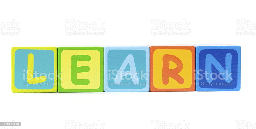 learn word colored letter stock photo