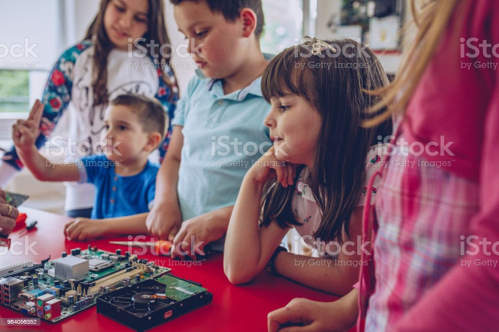 Learning about computer hardware - Royalty-free Boys Stock Photo
