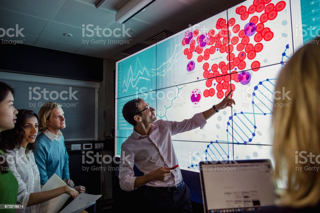Learning about DNA Phenotyping Group of business professionals in a dark room standing in front of a large data display screen with information. 30-39 Years Stock Photo