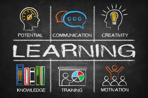 Learning concept Chart with keywords and icons stock photo