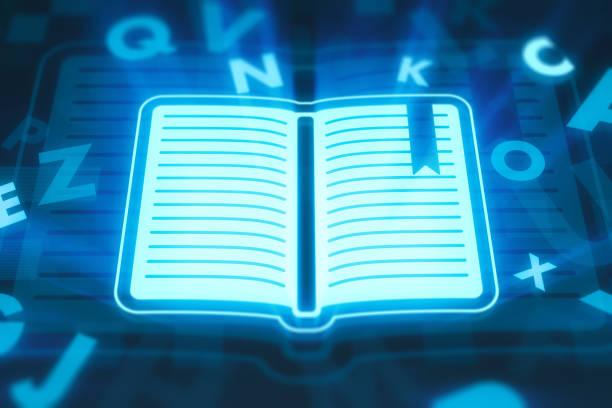 learning-konzepts auf dem digitalen display - online lexikon stock-fotos und bilder