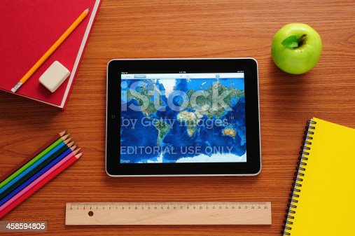istock Learning geography with iPad 458594805