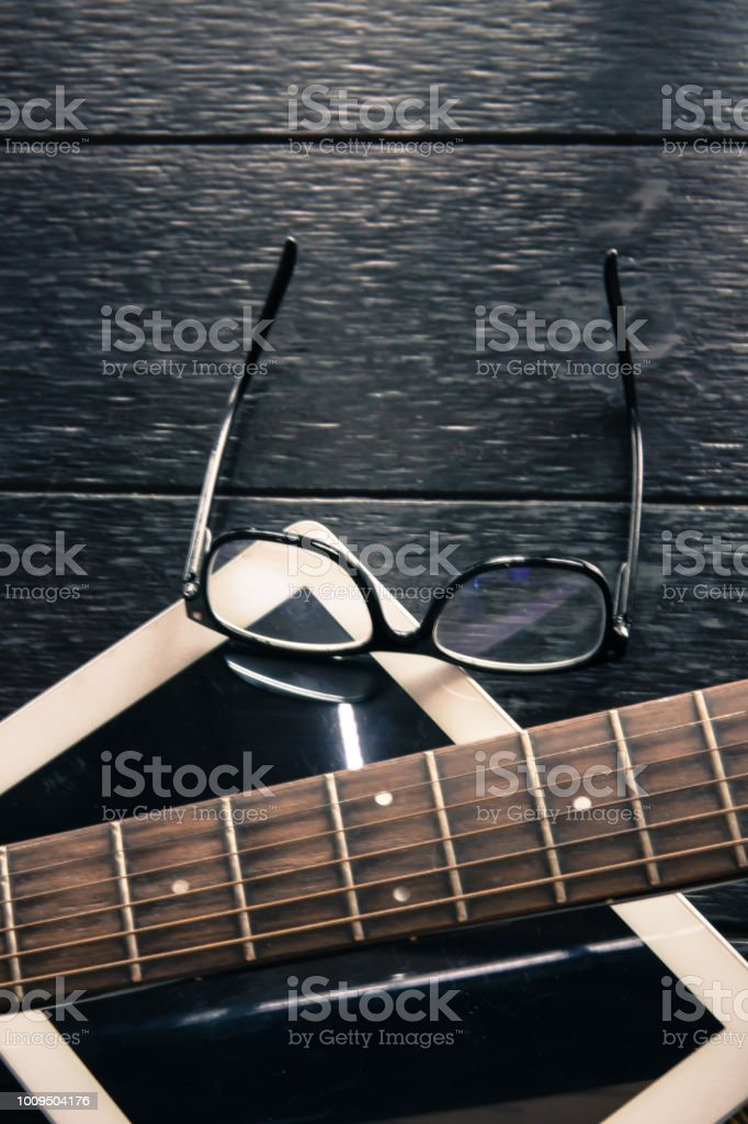 Learning Guitar Chords Online Stock Photo - Download Image
