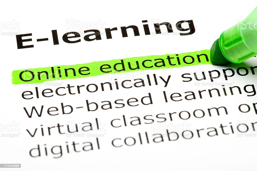 E- learning, highlighted online education royalty-free stock photo