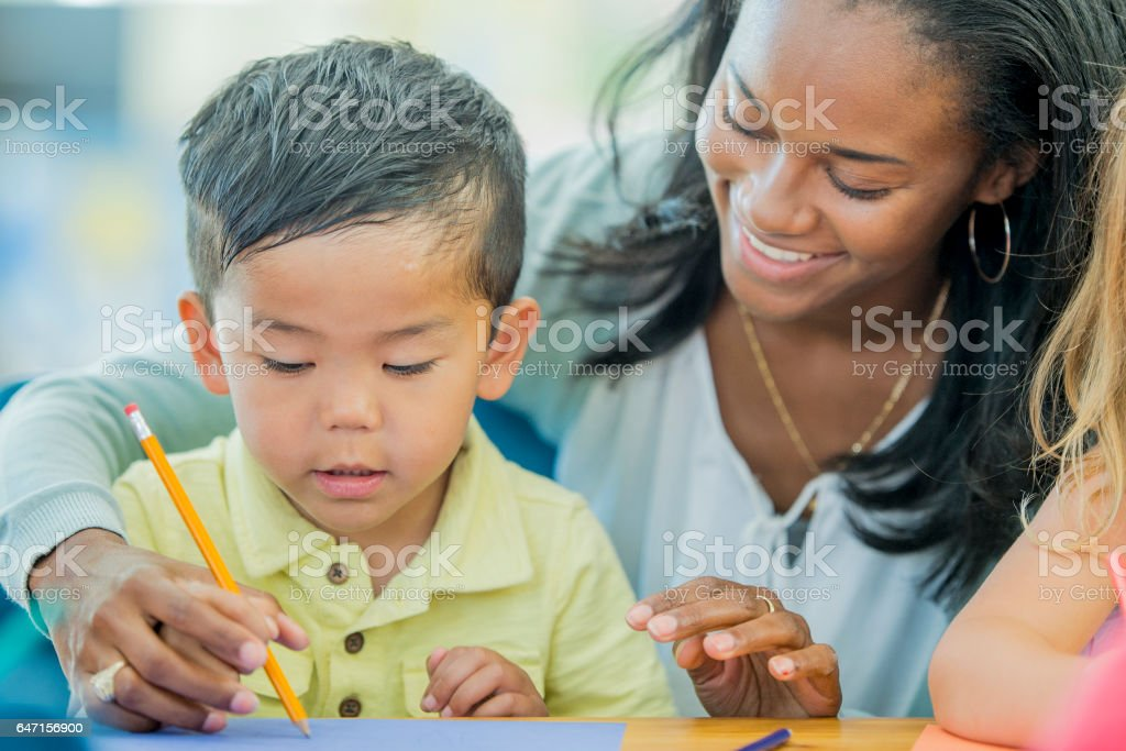 Learning How to Write Letters stock photo