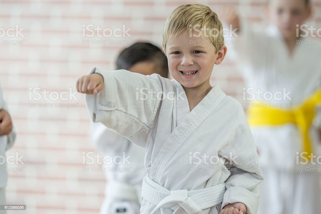 Learning Karate and the Gym stock photo