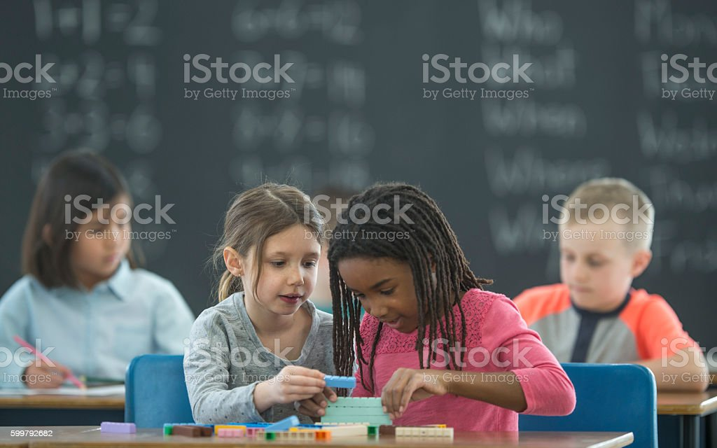 Learning Math with Blocks stock photo
