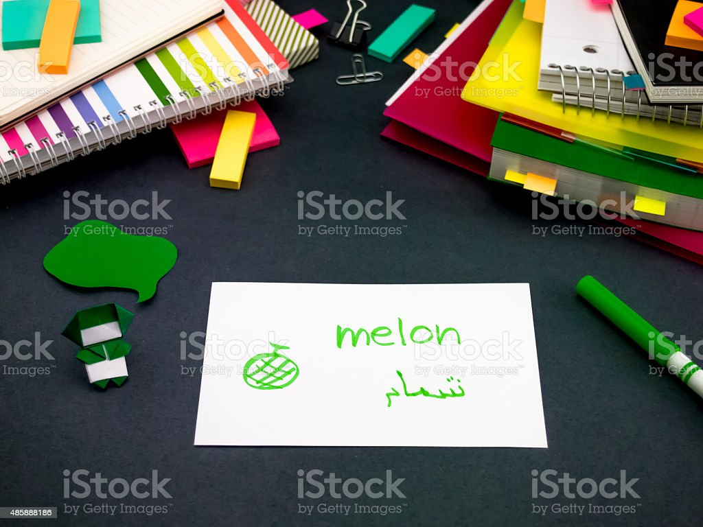 Learning New Language Making Original Flash Cards; Arabic stock photo