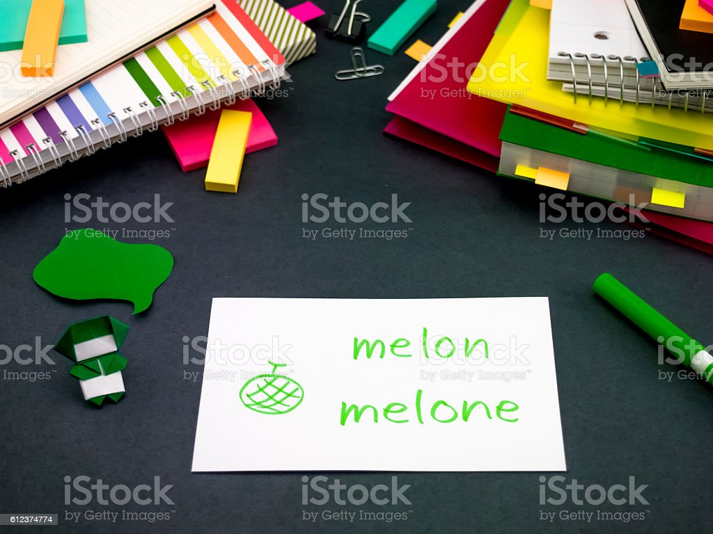 Learning New Language Making Original Flash Cards; Italian stock photo