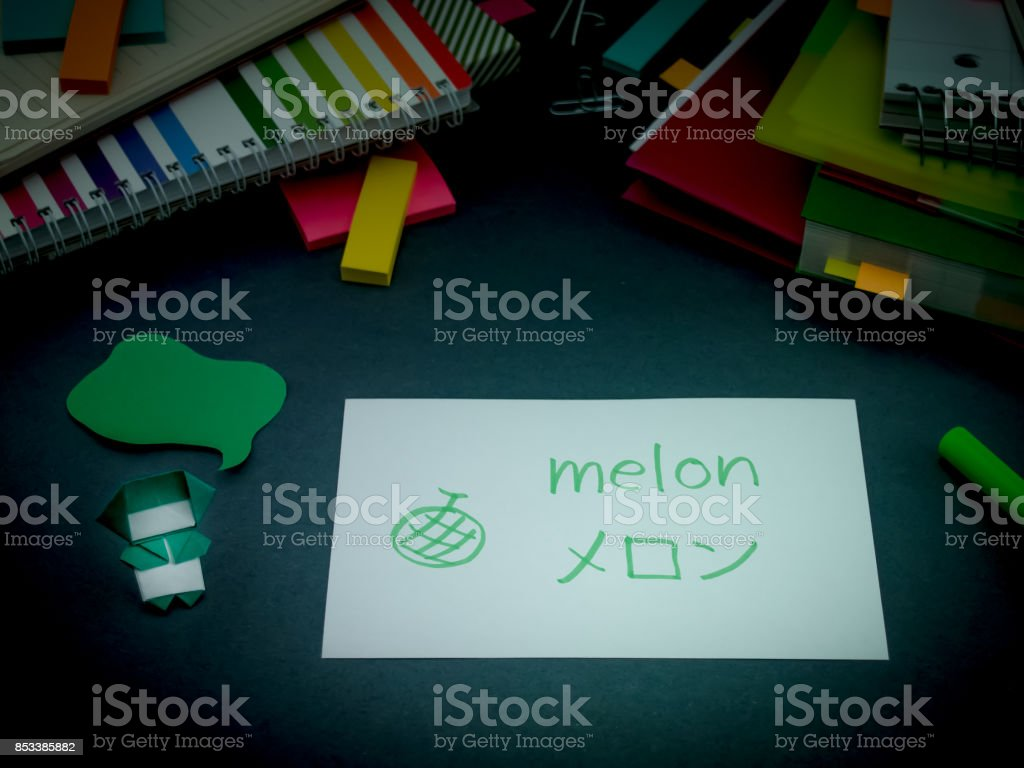 Learning New Language Making Original Flash Cards; Japanese stock photo