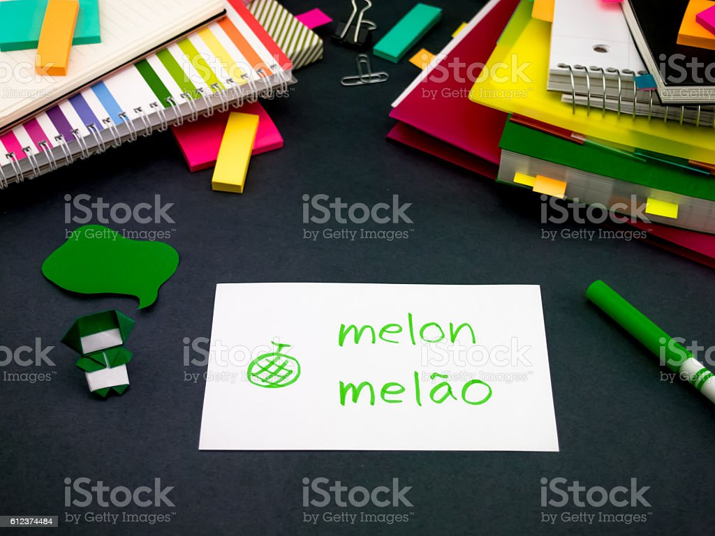 Learning New Language Making Original Flash Cards; Portuguese stock photo