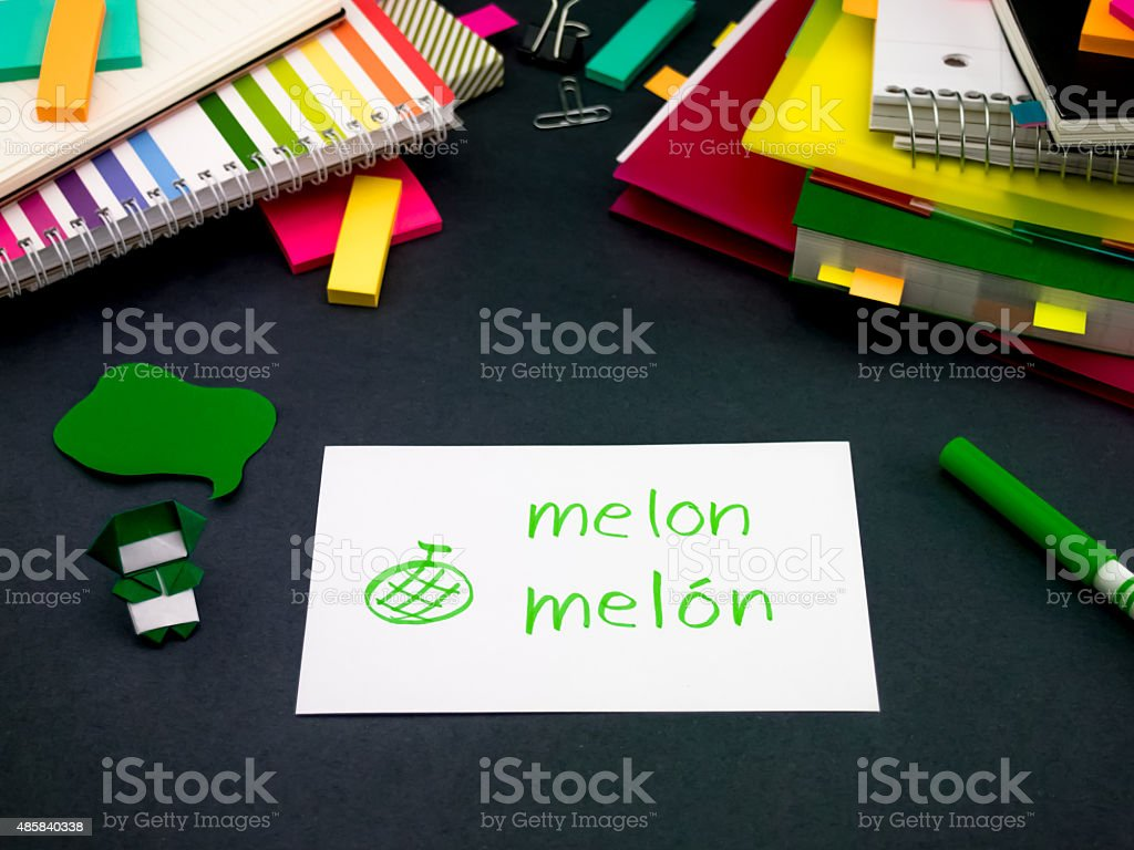Learning New Language Making Original Flash Cards; Spanish stock photo
