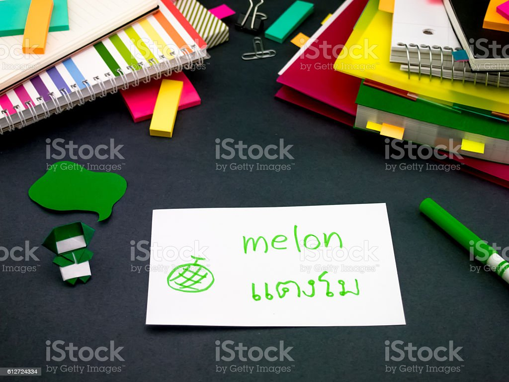 Learning New Language Making Original Flash Cards; Thai stock photo