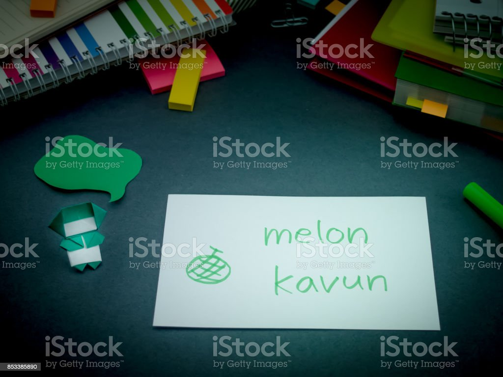 Learning New Language Making Original Flash Cards; Turkish stock photo