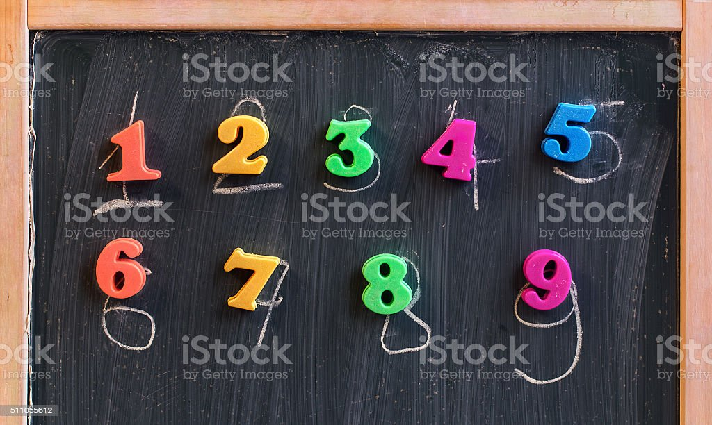 Learning numbers on a blackboard stock photo