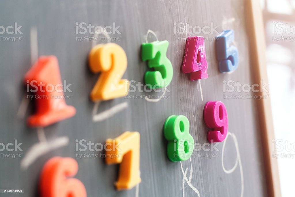 Learning numbers on a blackboard royalty-free stock photo