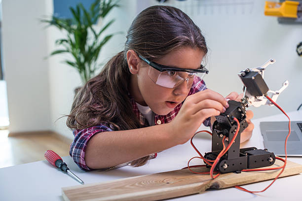 Learning robotics basics stock photo